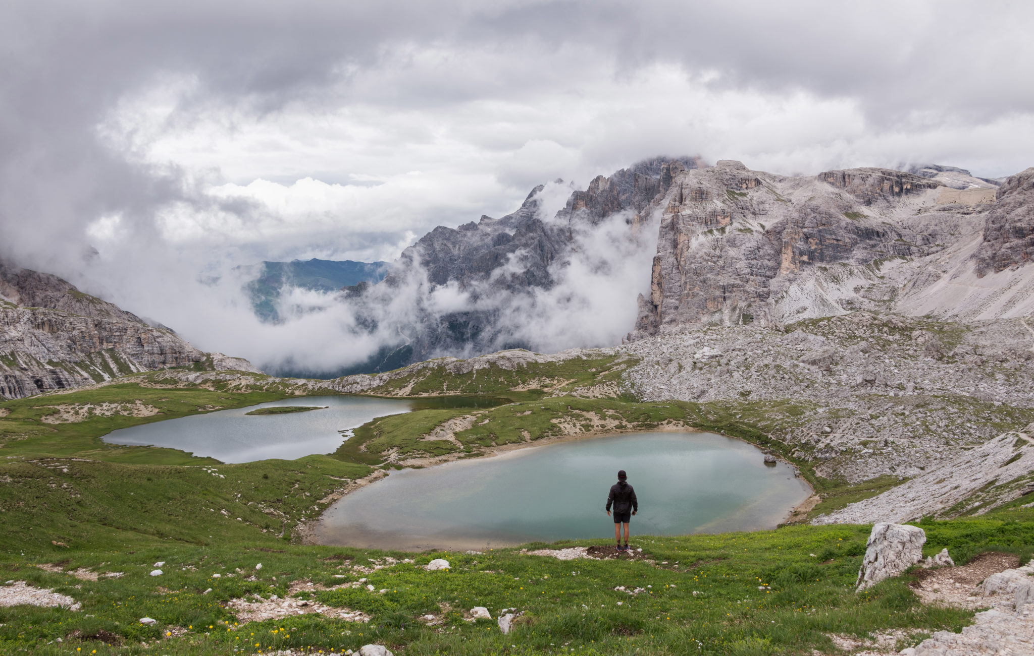 Male hiker in the Italian Dolomites Mountains